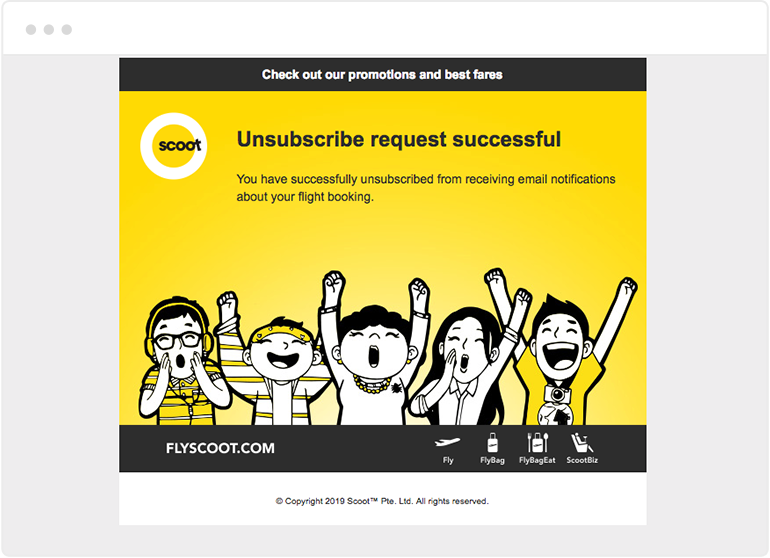 Fly Scoot unsubscribe page