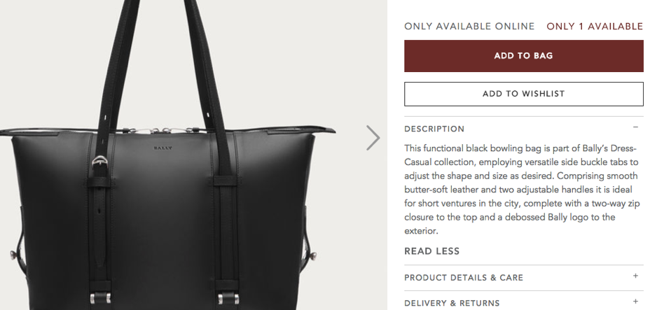 Bally product description