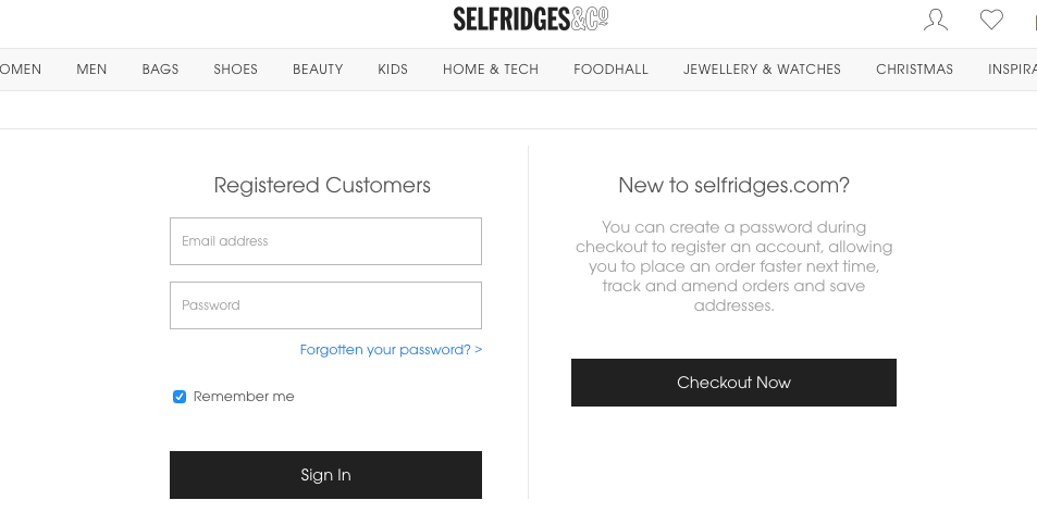 selfridges guest checkout