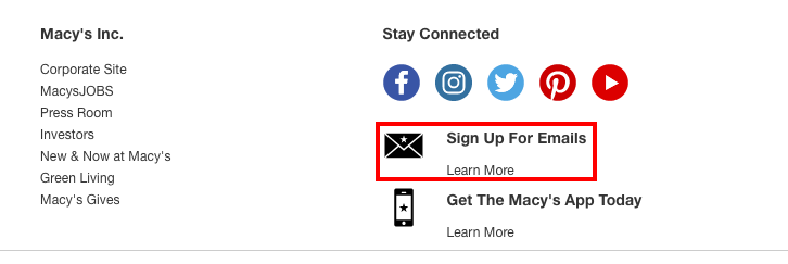 Macys email sign up option