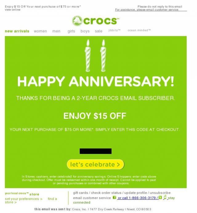 crocs promo code example