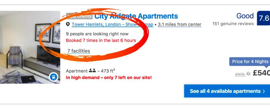 social proof booking.com