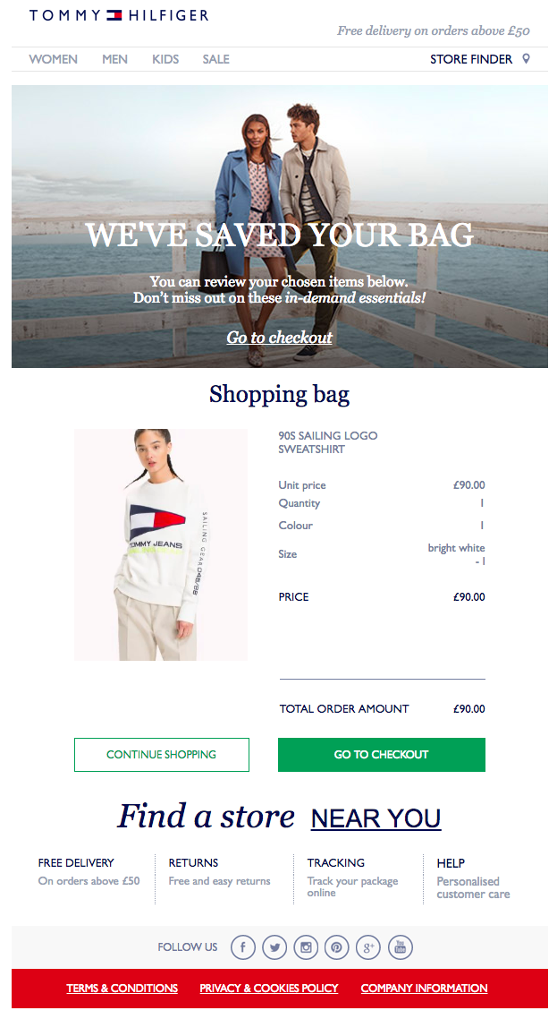 Tommy Hilfiger Abandoned Cart Email Example