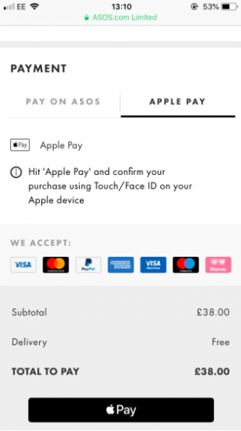 ASOS checkout payment options