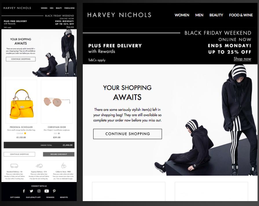 Harvey Nichols Black Friday cart abandonment email example