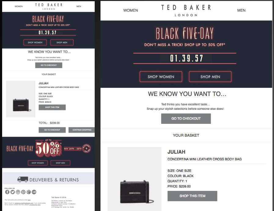 Black Friday ecommerce countdown timer example