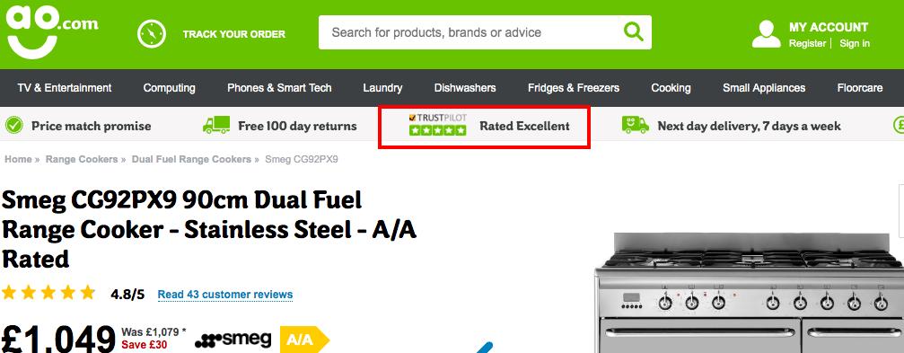 AO.com use of Trustpilot reviews