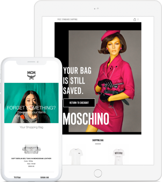 Cart abandonment email MCM and Moschino
