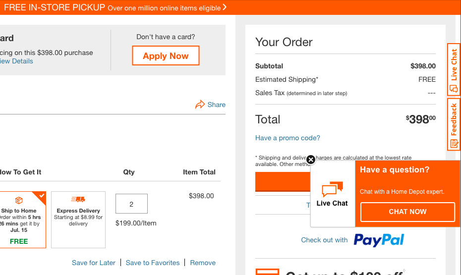 home depot live chat checkout