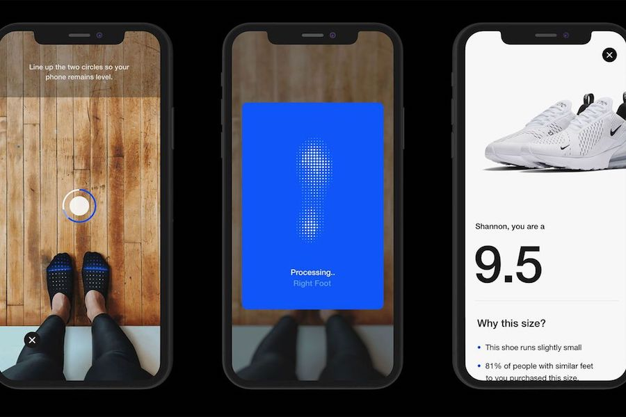 Nike AR shoe fitting app