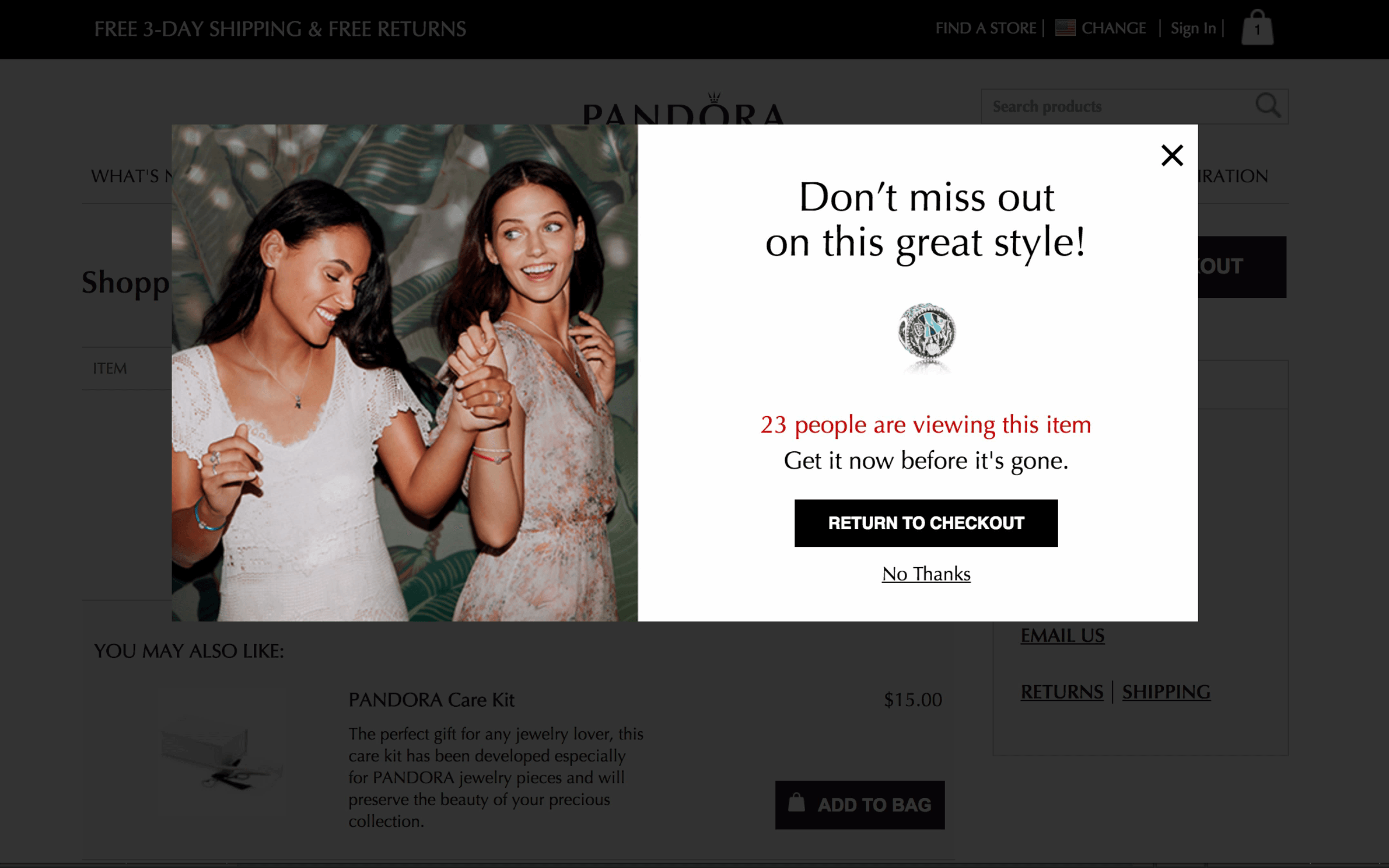 Pandora urgency messaging to reduce cart abandonment