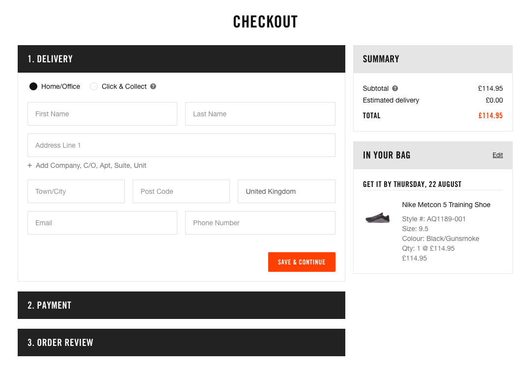 Nike checkout forms
