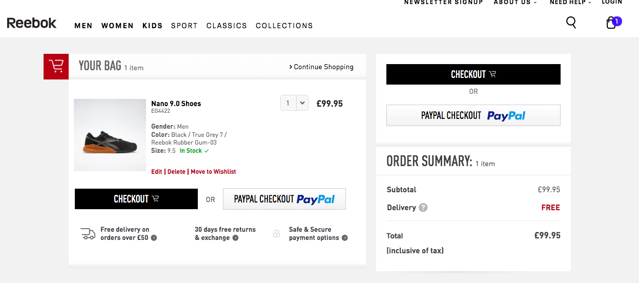 Reebok shopping cart page CTAS to reduce cart abandonment