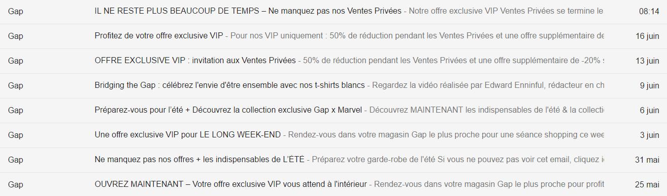 Gap boite email avec réductions