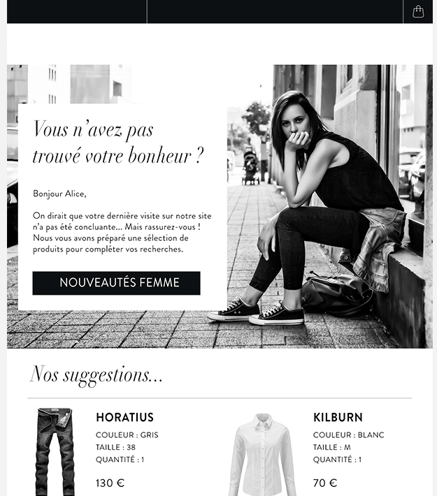Exemple d'on-site remarketing abandon de panier