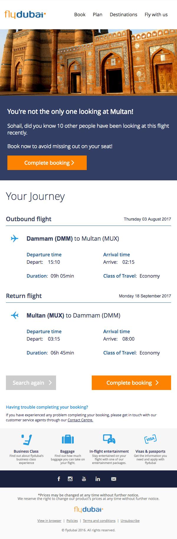 FlyDubai cart abandonment email
